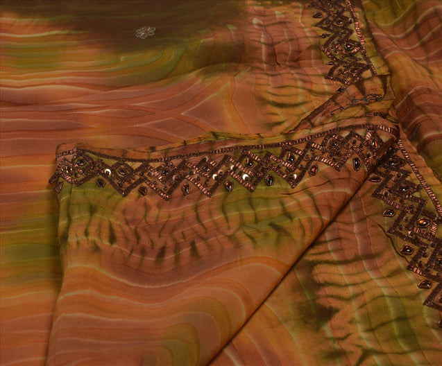 Vintage Indian Saree 100% Pure Crepe Silk Hand Beaded Craft Fabric Leheria Sari