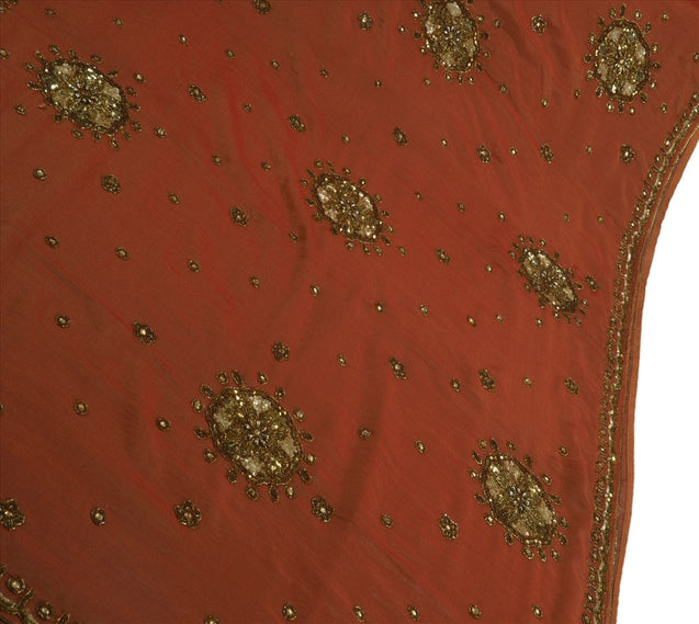 Antique Vintage Indian Saree Georgette Hand Embroidery Craft Fabric Sari