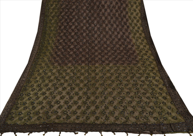 Antique Vintage Indian Saree Net Mesh Hand Embroidery Woven Craft Fabric Sari