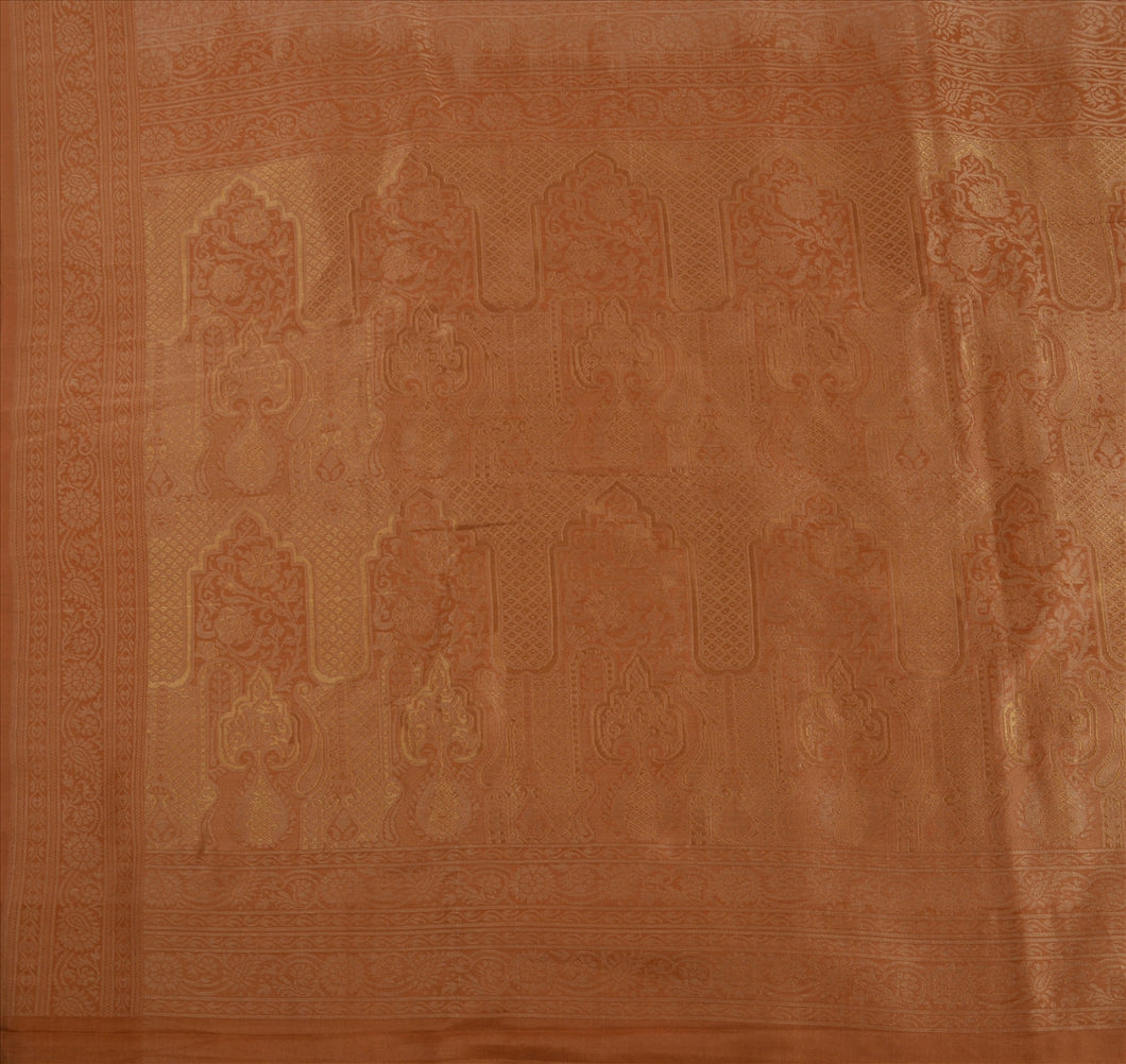Sanskriti Antique Vintage Indian Saree Silk Blend Woven Peach Craft Fabric Sari