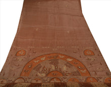 Load image into Gallery viewer, Antique Vintage Indian Saree 100% Pure Silk Brown Hand Beaded Fabric Sari