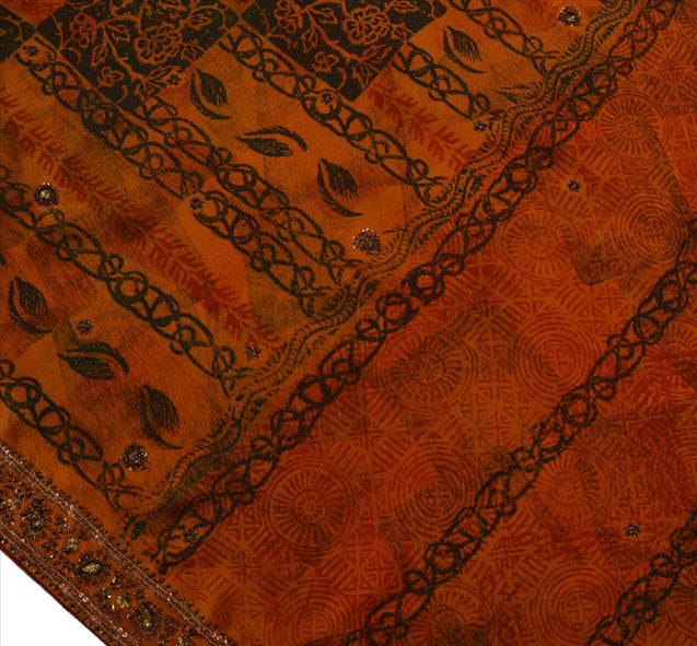 Sanskriti Vintage Indian Saree Georgette Hand Beaded Orange Craft Fabric Sari
