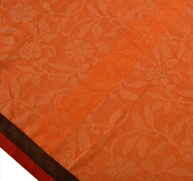Antique Vintage Indian Saree Art Silk Hand Beaded Woven Orange Craft Fabric Sari