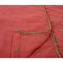 Load image into Gallery viewer, Sanskriti Vintage Indian Saree Georgette Hand Embroidery Peach Craft Fabric Sari