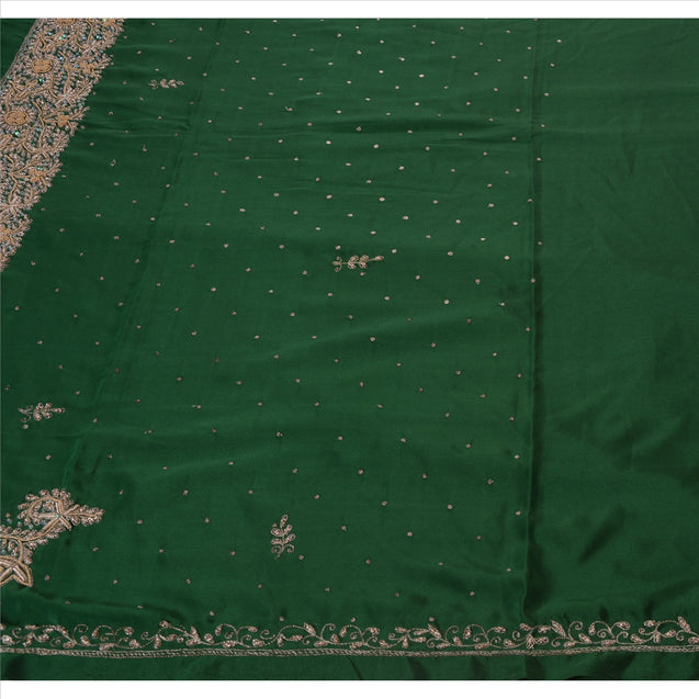 Sanskriti Vintage Antique Indian Saree Art Silk Hand Embroidery Green Craft Fabric Sari