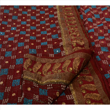 Load image into Gallery viewer, Antique Vintage Indian Saree Pure Georgette Silk Hand Embroidery Fabric Sari