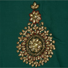 Load image into Gallery viewer, Sanskriti Vintage Antique Saree Georgette Hand Embroidery Green Fabric Sari Rhinestone