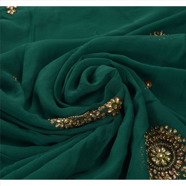 Sanskriti Vintage Antique Saree Georgette Hand Embroidery Green Fabric Sari Rhinestone