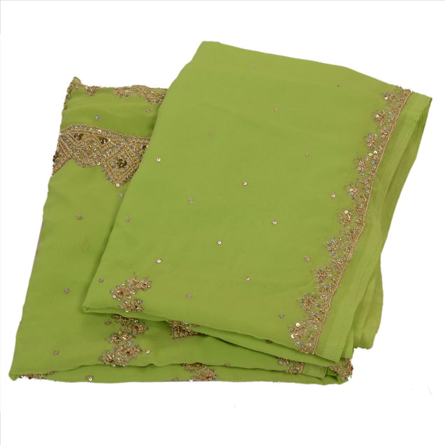 Sanskriti Vintage Indian Saree Georgette Hand Embroidery Green Fabric ZarI Sari
