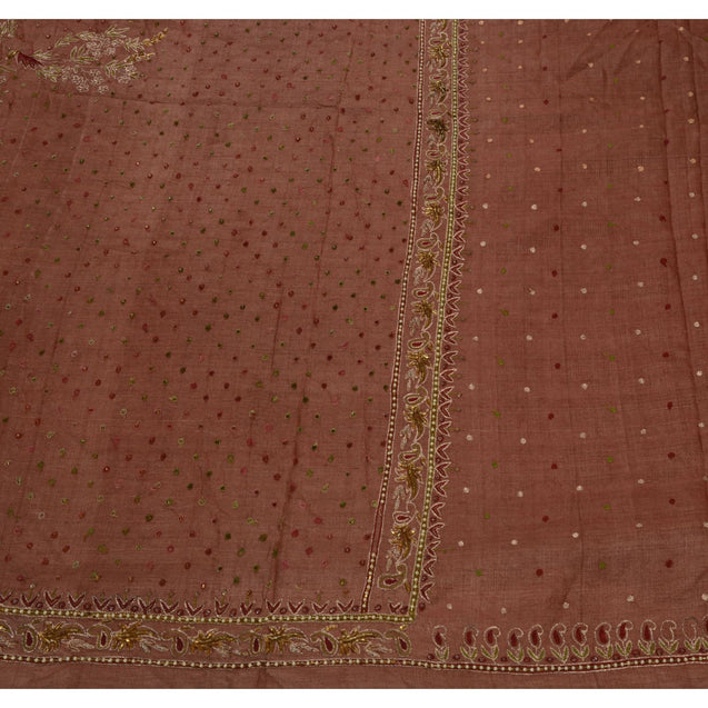 Vintage Indian Saree 100% Pure Silk Hand Beaded Fabric Cultural Sari Glass Beads