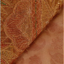 Load image into Gallery viewer, Sanskriti Vintage Indian Saree Tissue Hand Embroidery Golden Fabric Sari Zari