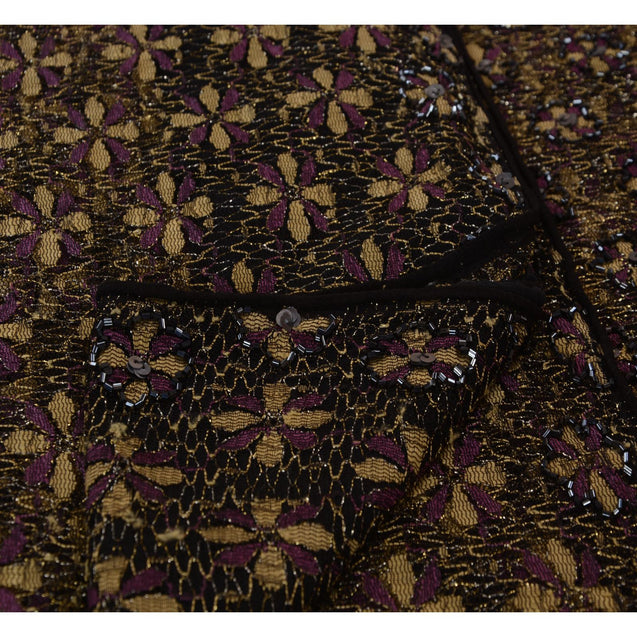 Sanskriti Vintage Indian Black Saree Net Mesh Hand Beaded Woven Fabric Sari Glass