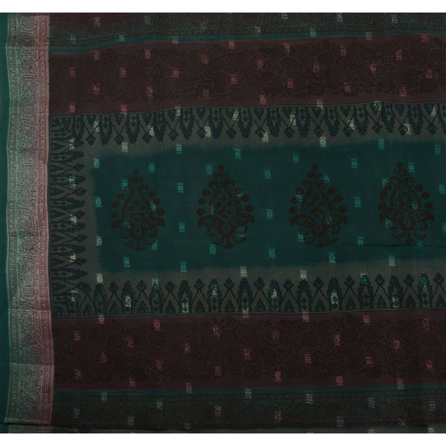 Sanskriti Vintage Indian Saree Art Silk Green Woven Painted Craft Fabric Sari