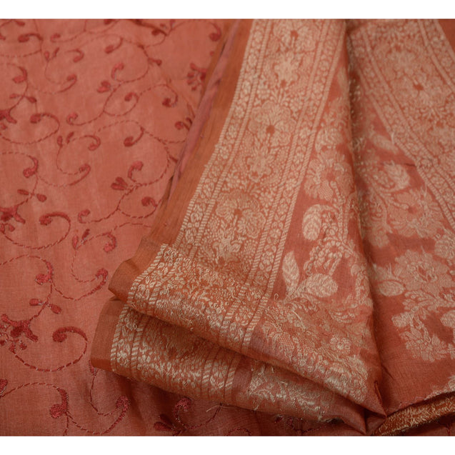 Antique Vintage Indian Saree 100% Pure Silk Woven Embroidered Peach Fabric Sari