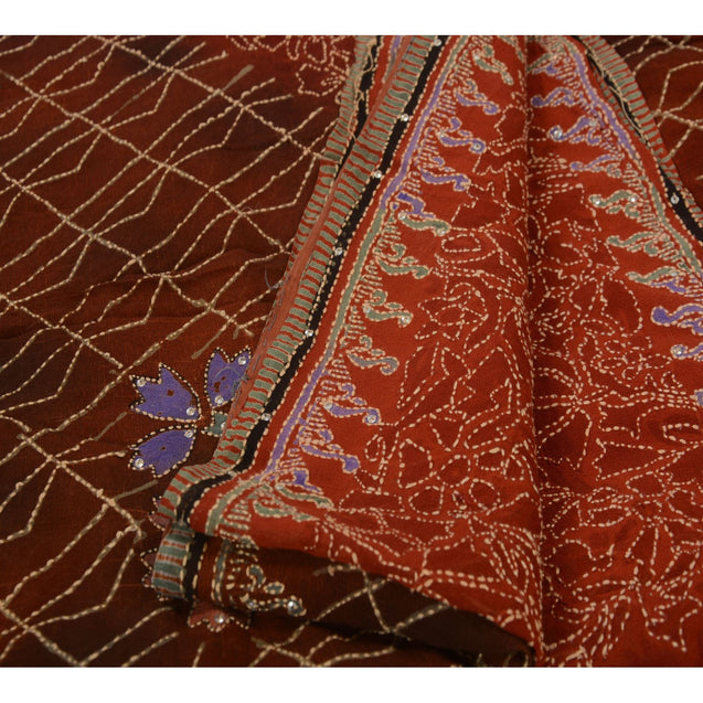 Antique Vintage Saree Pure Georgette Silk Hand Embroidery Fabric Kantha Sari