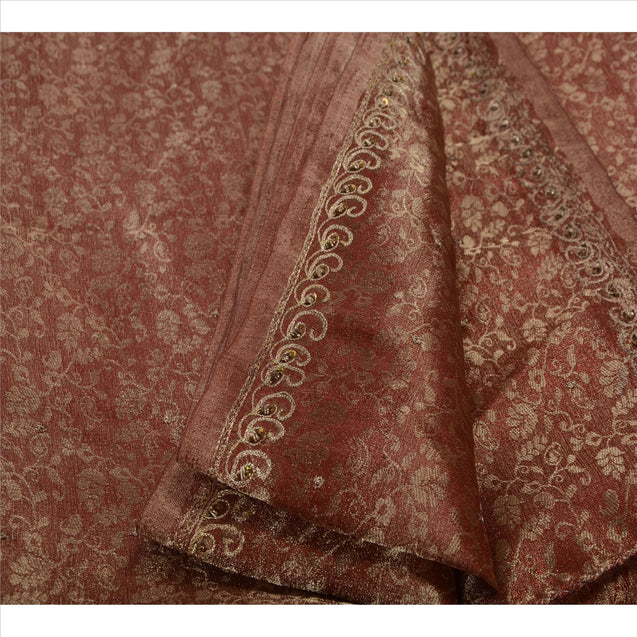Sanskriti Vintage Indian Saree Art Silk Hand Beaded Woven Fabric Sari Kundan