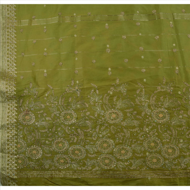 Sanskriti Vintage Indian Saree Art Silk Hand Embroidery Woven Fabric Sari Zari