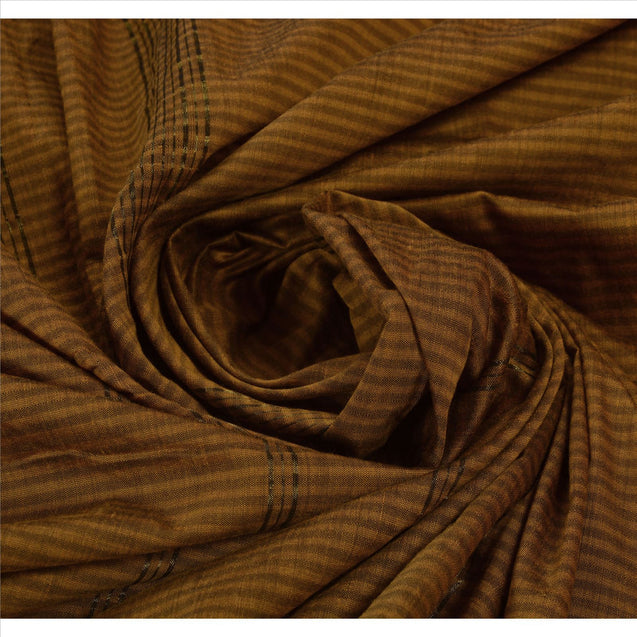 Sanskriti Vintage Indian Saree Art Silk Brown Woven Craft Fabric Sari