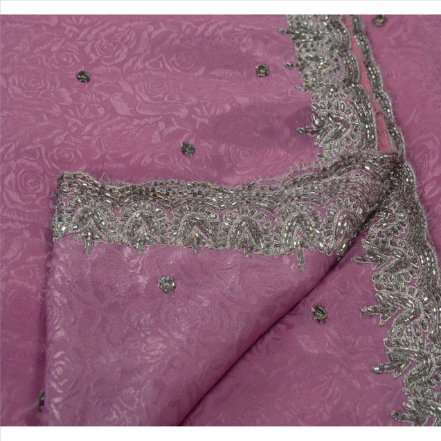Sanskriti Vintage Indian Pink Saree Art Silk Hand Beaded Woven Fabric Sari Galss