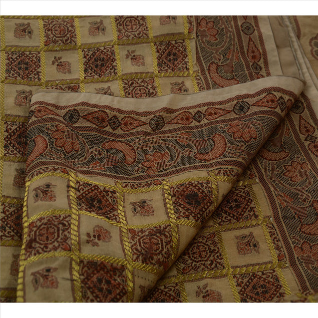 Sanskriti Vintage Indian Saree Art Silk Woven Cream Craft Fabric Sari Floral