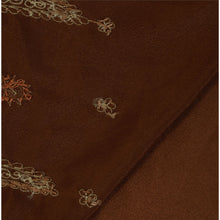 Load image into Gallery viewer, Sanskriti Vintage Indian Brown Saree Art Silk Hand Embroidered Craft Fabric Sari Zari