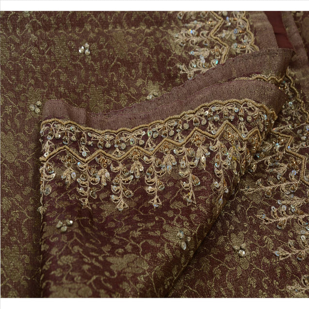 Antique Vintage Indian Saree Tissue Hand Embroidery Woven Craft Fabric Sari
