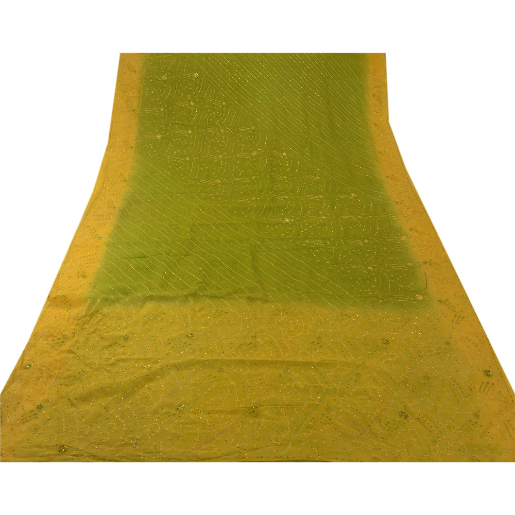 Sanskriti Vintage Indian Green Saree 100% Pure Georgette Silk Hand Beaded Craft Fabric Sari
