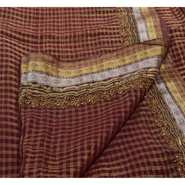 Antique Vintage Saree Blend Georgette Hand Embroidery Brown Woven Fabric Sari