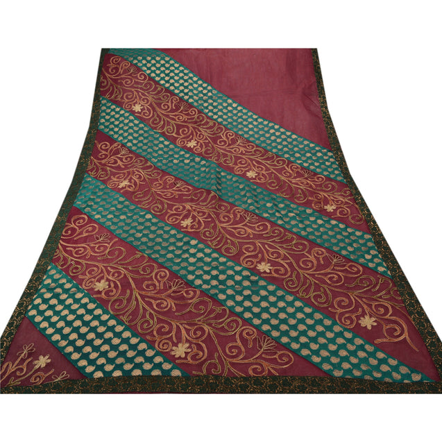 Sanskriti Vintage Indian Saree Art Silk Hand Embroidered Woven Fabric Zari Sari