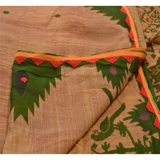 Vintage Saree 100% Pure Cotton Hand Embroidered Peach Fabric Kantha Parrot Sari