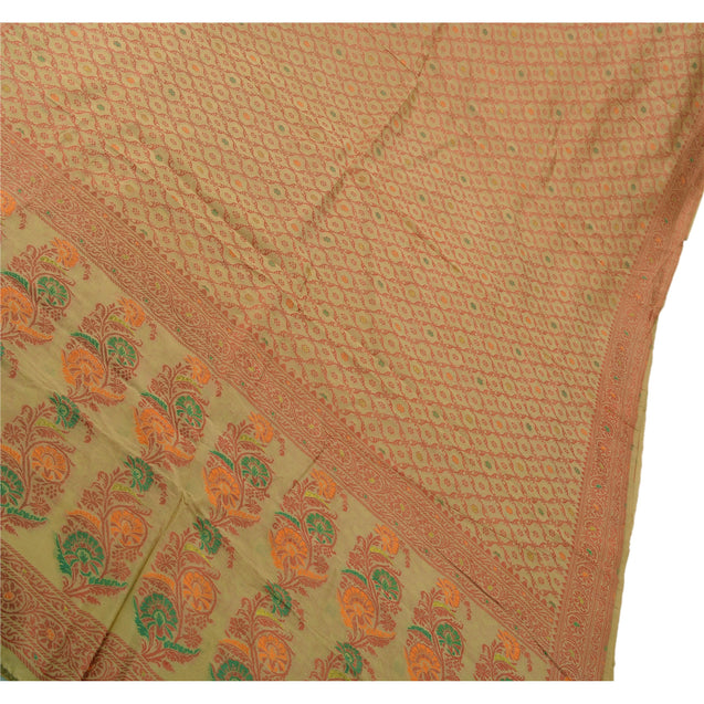 Sanskriti Vintage Indian Saree Silk Blend Woven Cream Craft Fabric Floral Sari