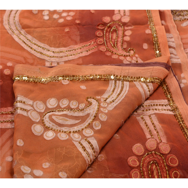 Sanskriti Antique Vintage Saree Georgette Hand Embroidery Fabric Sequins Sari