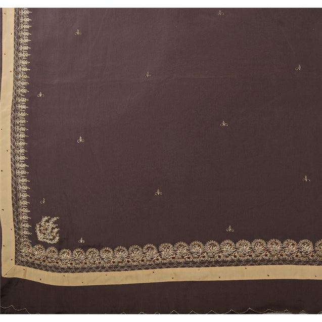 Sanskriti Antique Vintage Indian Saree Art Silk Hand Embroidery Fabric Zari Sari