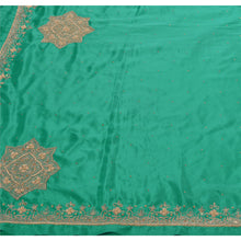 Load image into Gallery viewer, Sanskriti Vintage Indian Saree Art Silk Hand Beaded Green Fabric Cultural Sari