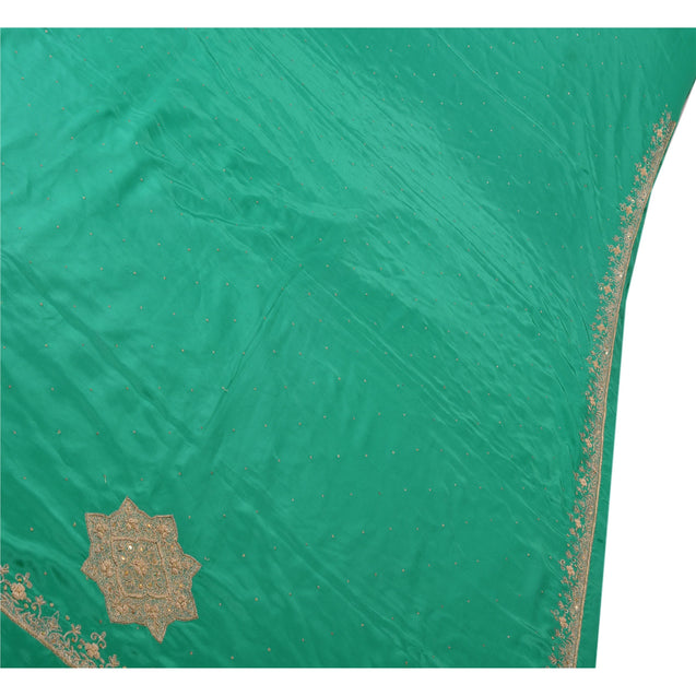 Sanskriti Vintage Indian Saree Art Silk Hand Beaded Green Fabric Cultural Sari