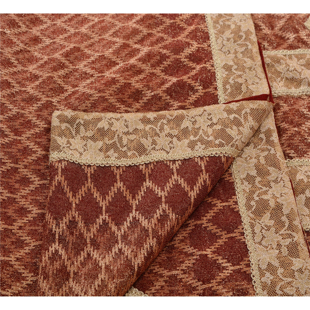 Sanskriti Vintage Indian Saree Net Mesh Embroidered Craft Fabric Premium Sari