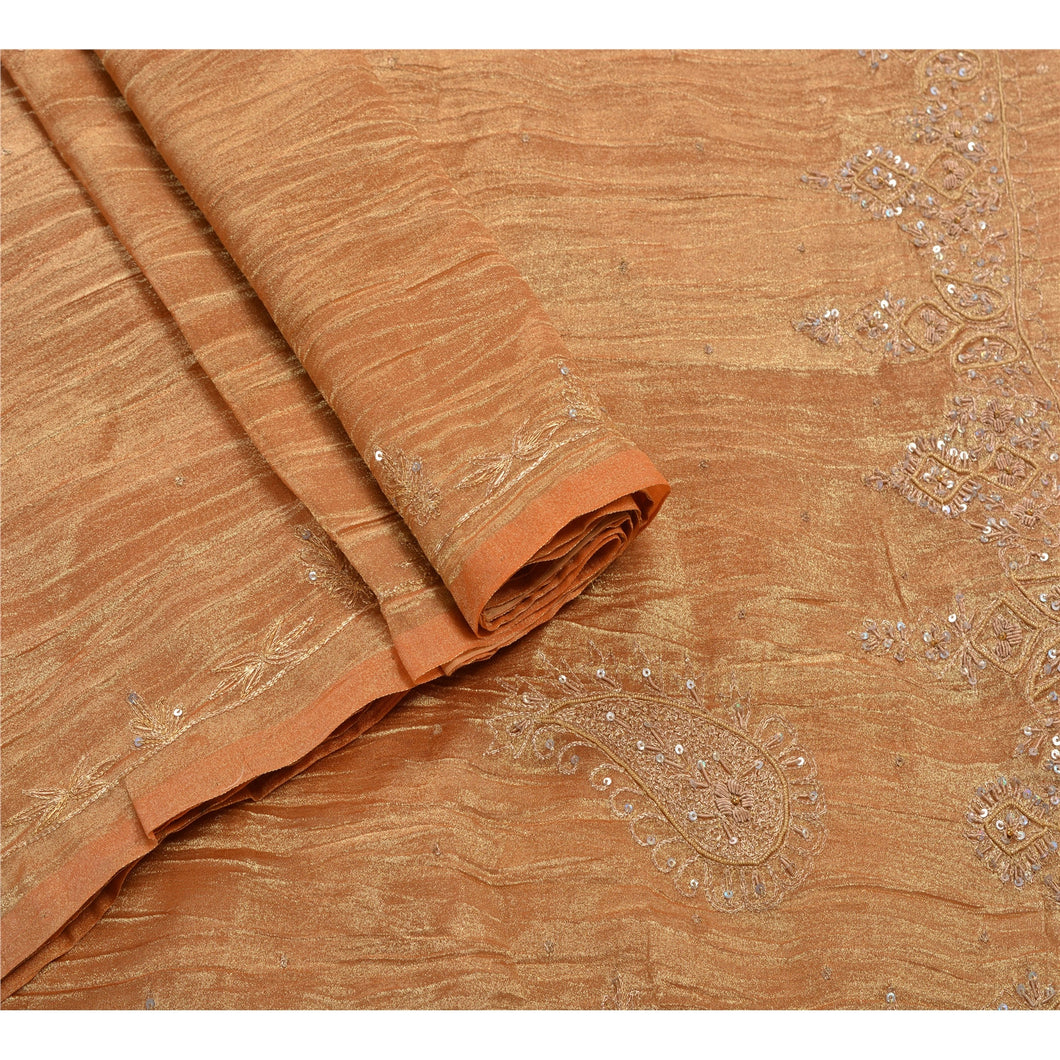 Sanskriti Vintage Indian Saree Tissue Hand Beaded Golden Fabric Premium Sari