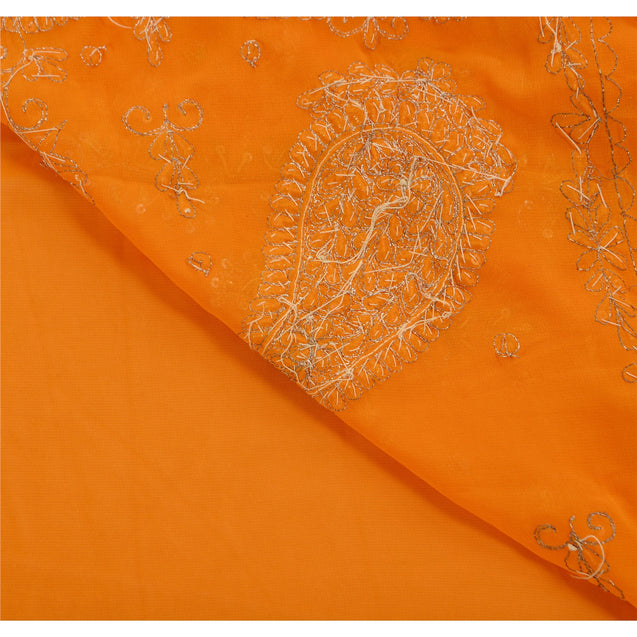 Sanskriti Vintage Indian Saree Georgette Hand Beaded Craft Fabric Premium Sari