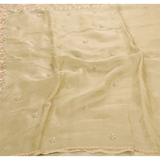 Sanskriti Antique Vintage Saree Tissue Hand Embroidery Fabric Premium Sari