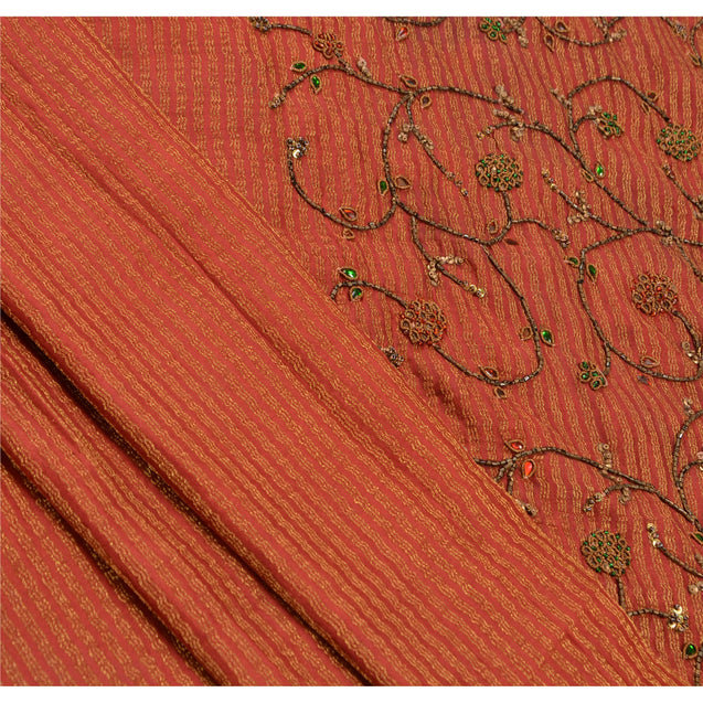 Vintage Indian Saree Georgette Hand Beaded Woven Fabric Cultural Premium Sari