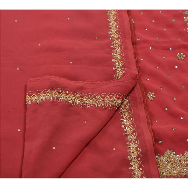 Sanskriti Antique Vintage Pink Saree Georgette Hand Embroidery Fabric Premium Sari