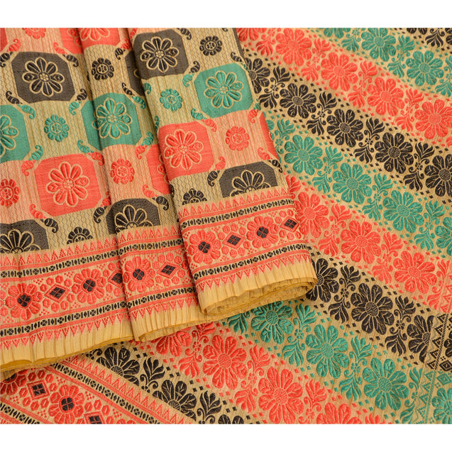 Sanskriti Antique Vintage Indian Saree Art Silk Woven Cream Fabric Premium Sari