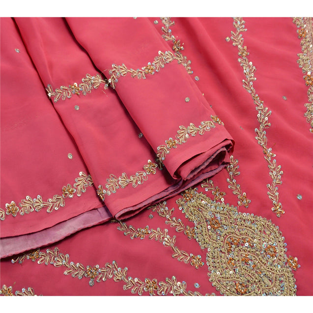 Sanskriti Vintage Indian Pink Saree Georgette Hand Beaded Fabric Ethnic Premium Sari