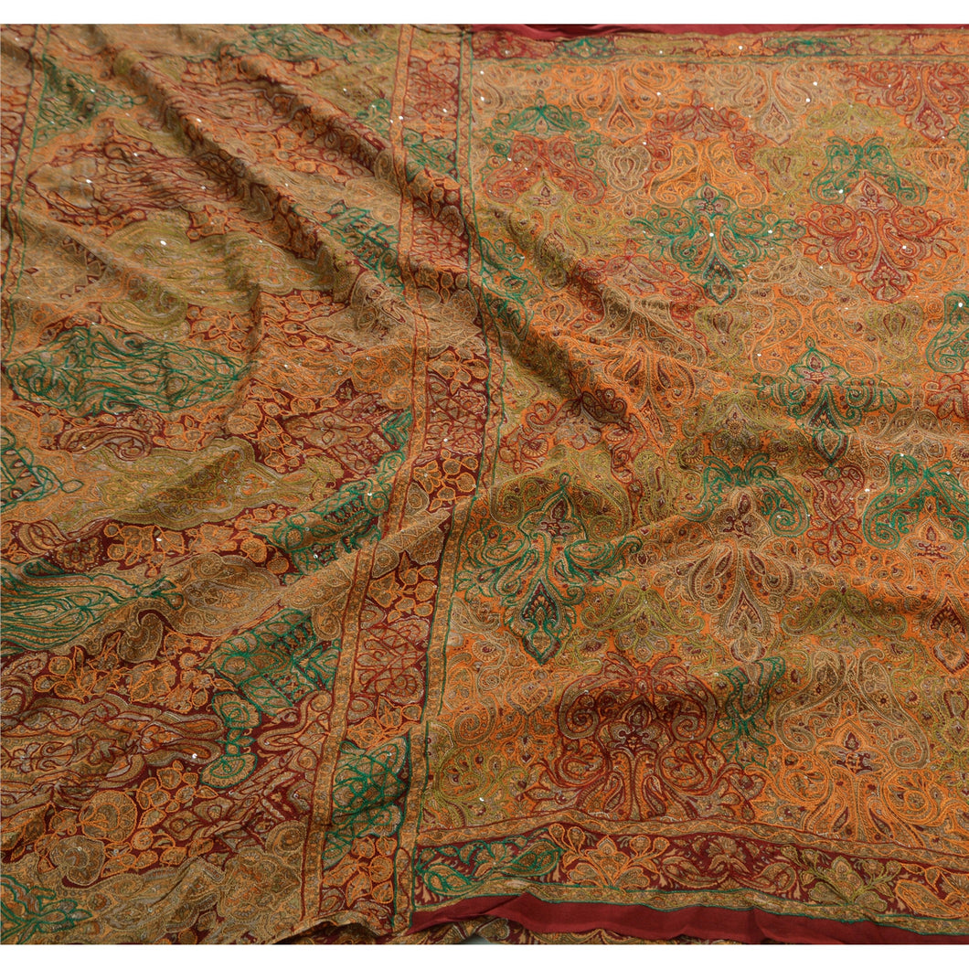 Antique Vintage Indian Saree  Pure Crepe Silk Hand Beaded Fabric Premium Sari