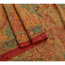 Load image into Gallery viewer, Antique Vintage Indian Saree  Pure Crepe Silk Hand Beaded Fabric Premium Sari