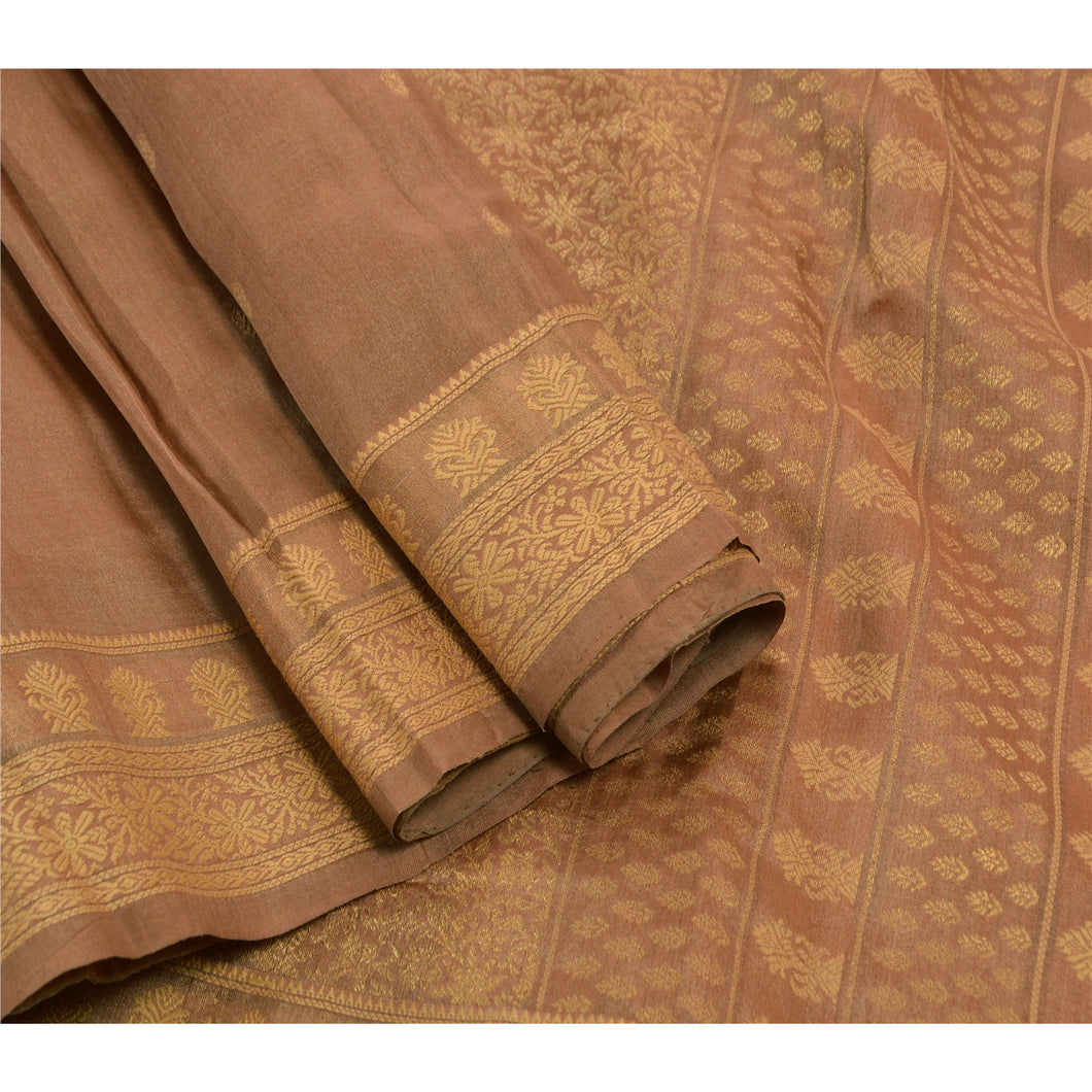 Sanskriti Vintage Indian Saree 100% Pure Silk Woven Fabric Ethnic Premium Sari