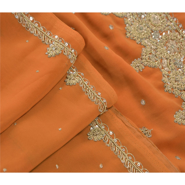 Sanskriti Vintage Orange Saree Georgette Hand Beaded Craft Fabric Ethnic Premium Sari
