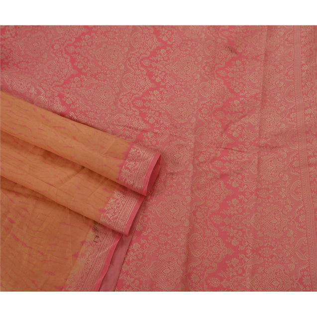 Saree 100% Pure Silk Woven Pink Fabric 5 Yd Leheria Sari