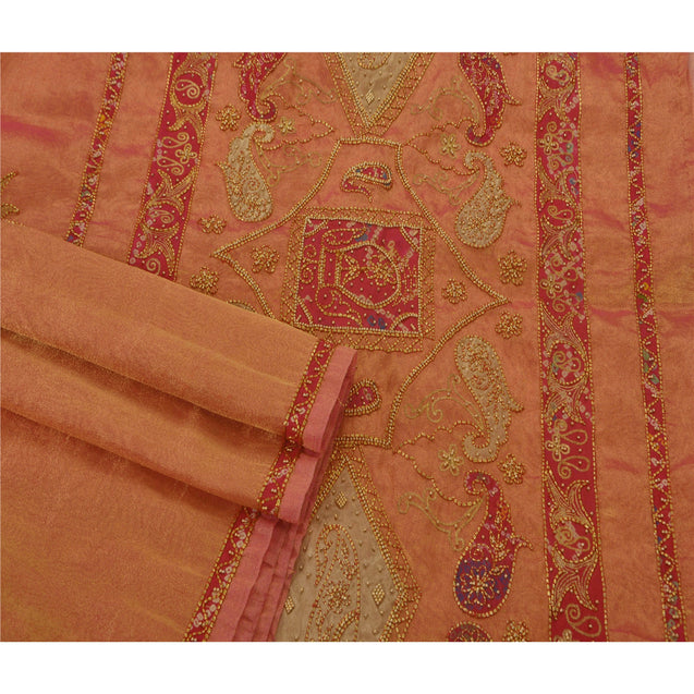Golden Pink Saree Tissue Hand Beaded Premium Fabric Sari Craft