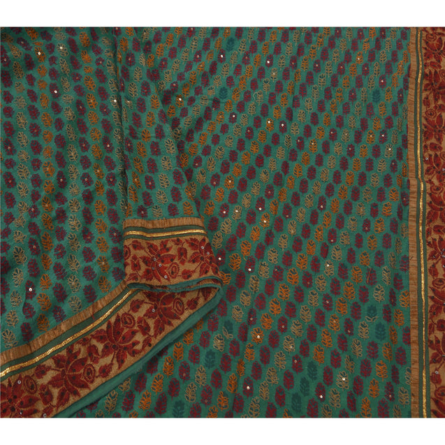 Sanskriti Vintage Green Saree Blend Georgette Hand Beaded Ethnic Fabric Sari